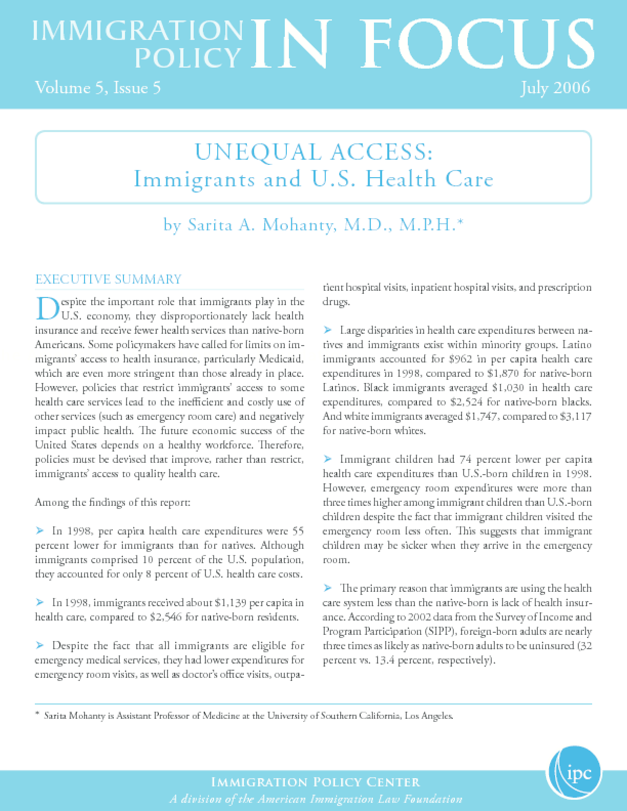 Unequal Access: Immigrants and U.S. Health Care