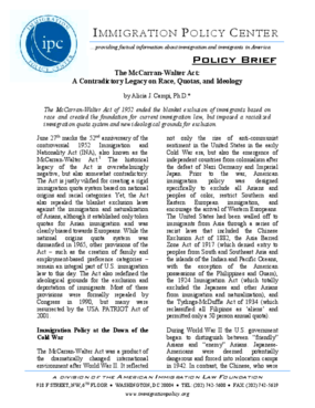 The McCarran-Walter Act:A Contradictory Legacy on Race, Quotas, and Ideology