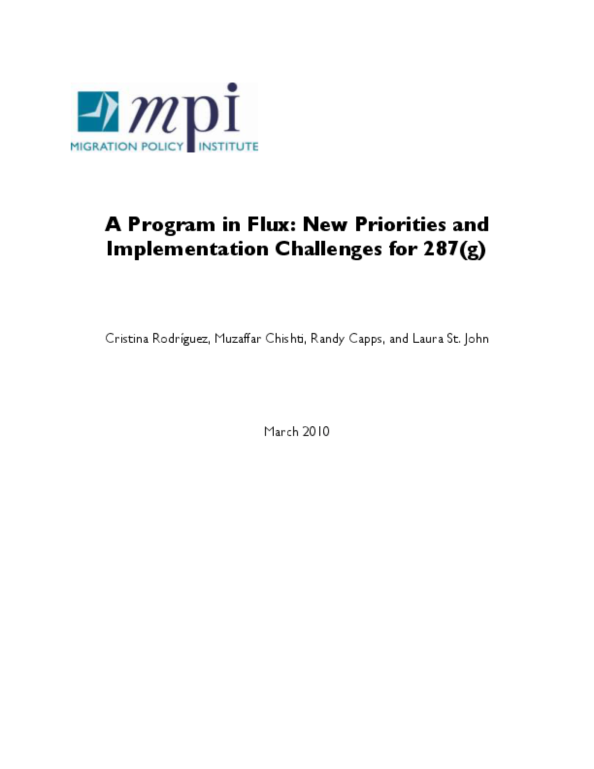 Program in Flux: New Priorities and Implementation Challenges for 287(g)