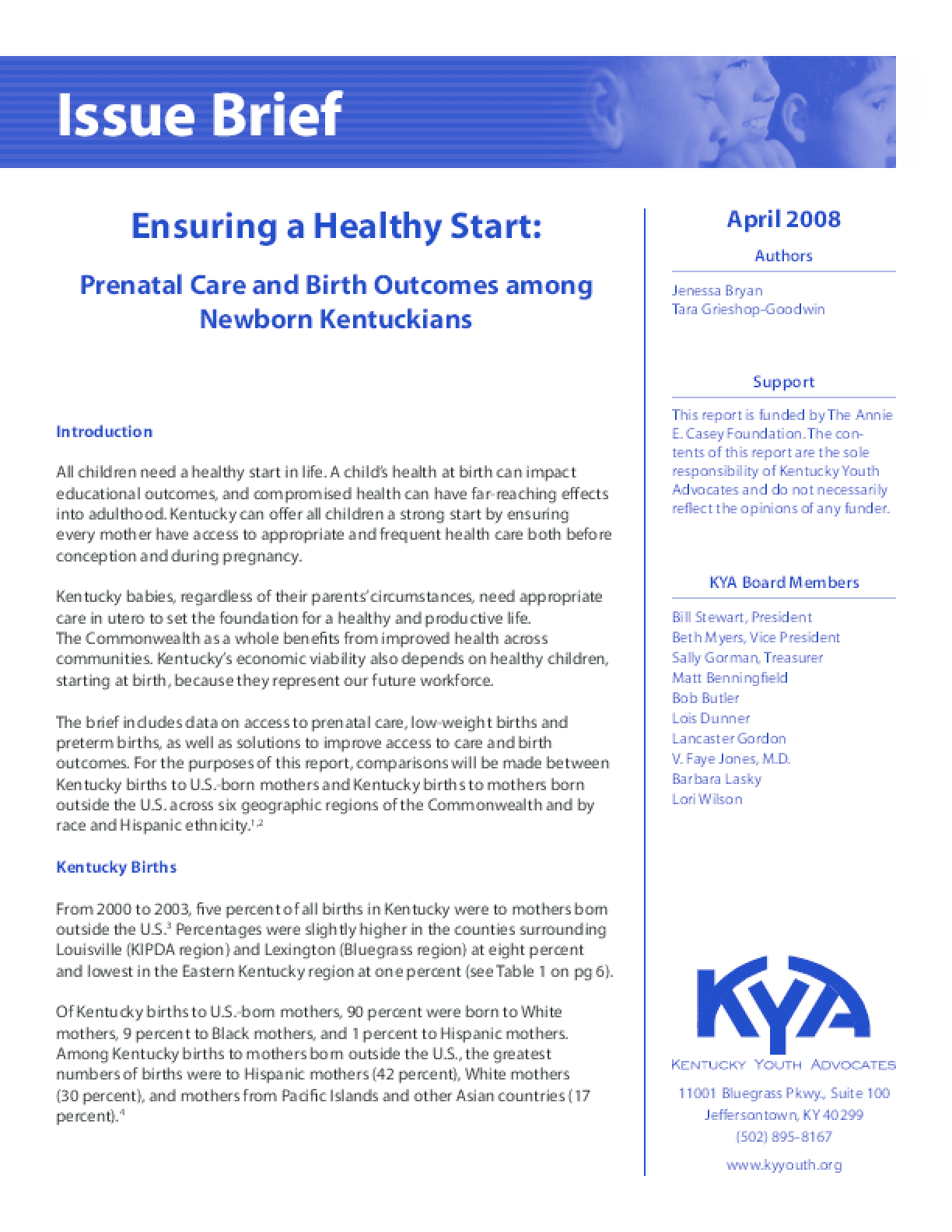 Ensuring a Healthy Start: Prenatal Care and Outcomes among Newborn Kentuckians