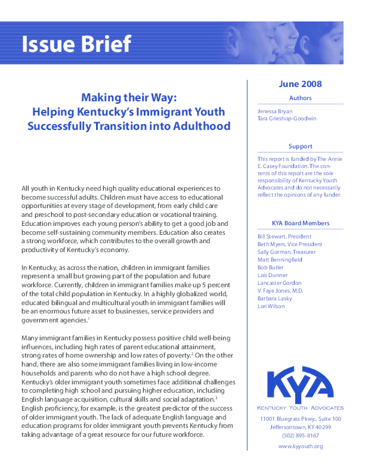 Making their Way: Helping Kentucky's Immigrant Youth Successfully Transition into Adulthood