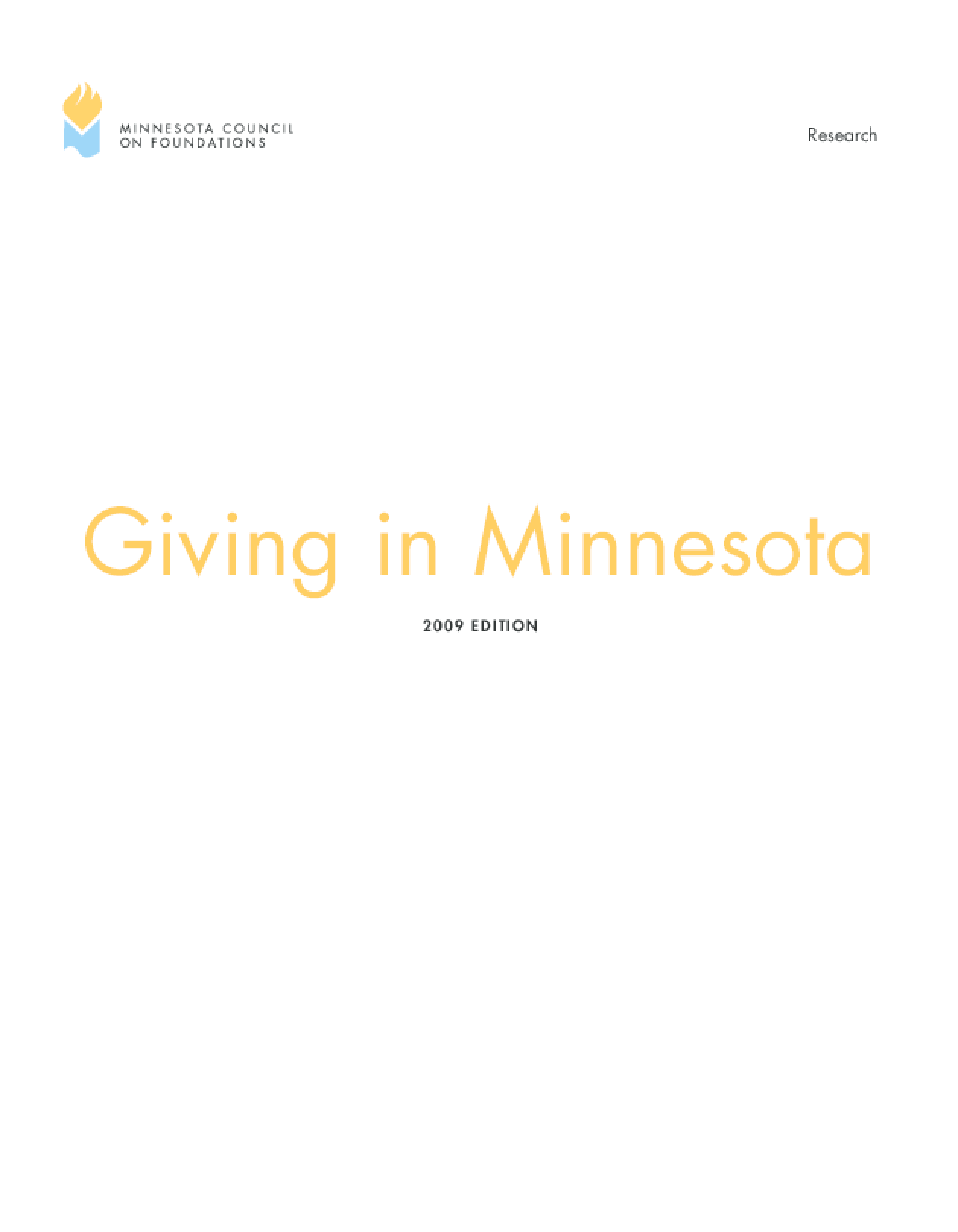 Giving in Minnesota, 2009 Edition