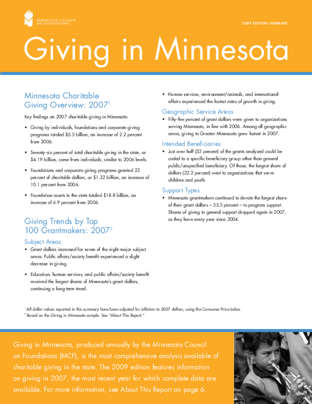 Giving in Minnesota 2009 Edition Summary