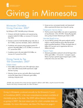 Giving in Minnesota 2009 Edition Summary