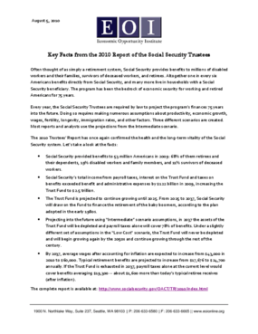 2010 Social Security Trustees' Report Key Facts