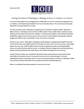 Setting Priorities in Washington: Raising revenue to invest in our future