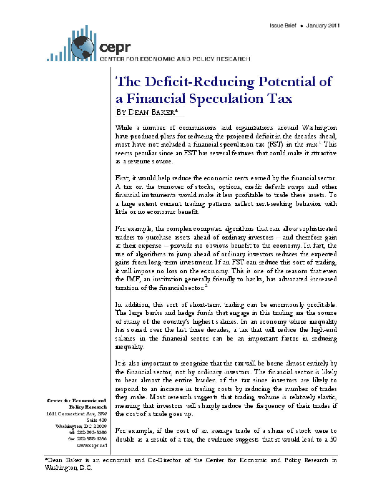 The Deficit-Reducing Potential of a Financial Speculation Tax