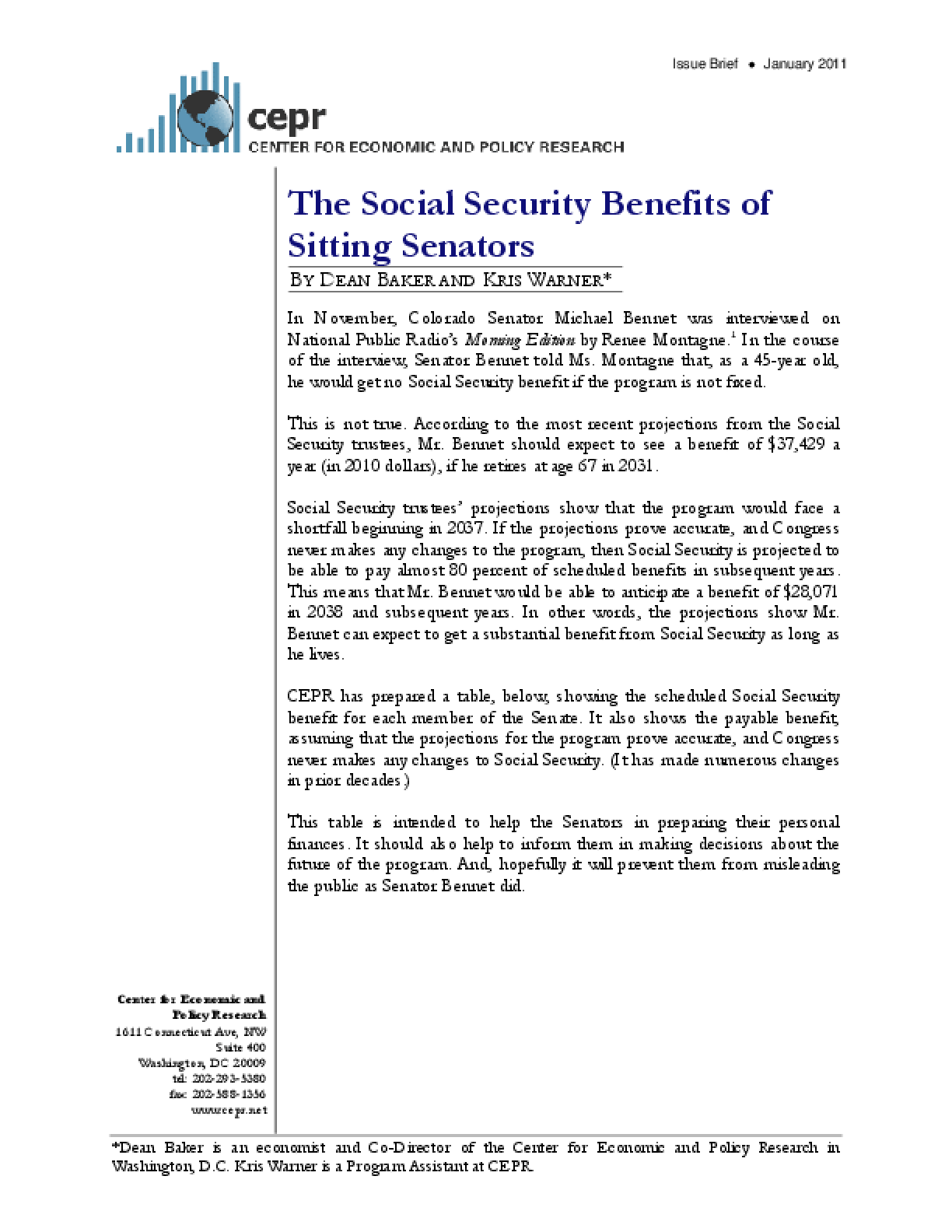 The Social Security Benefits of Sitting Senators