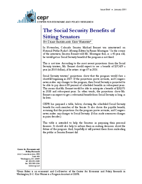 The Social Security Benefits of Sitting Senators