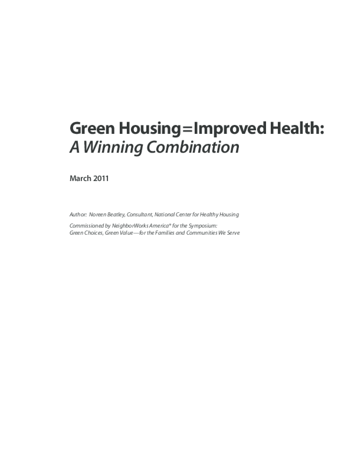 Green Housing = Improved Health: A Winning Combination
