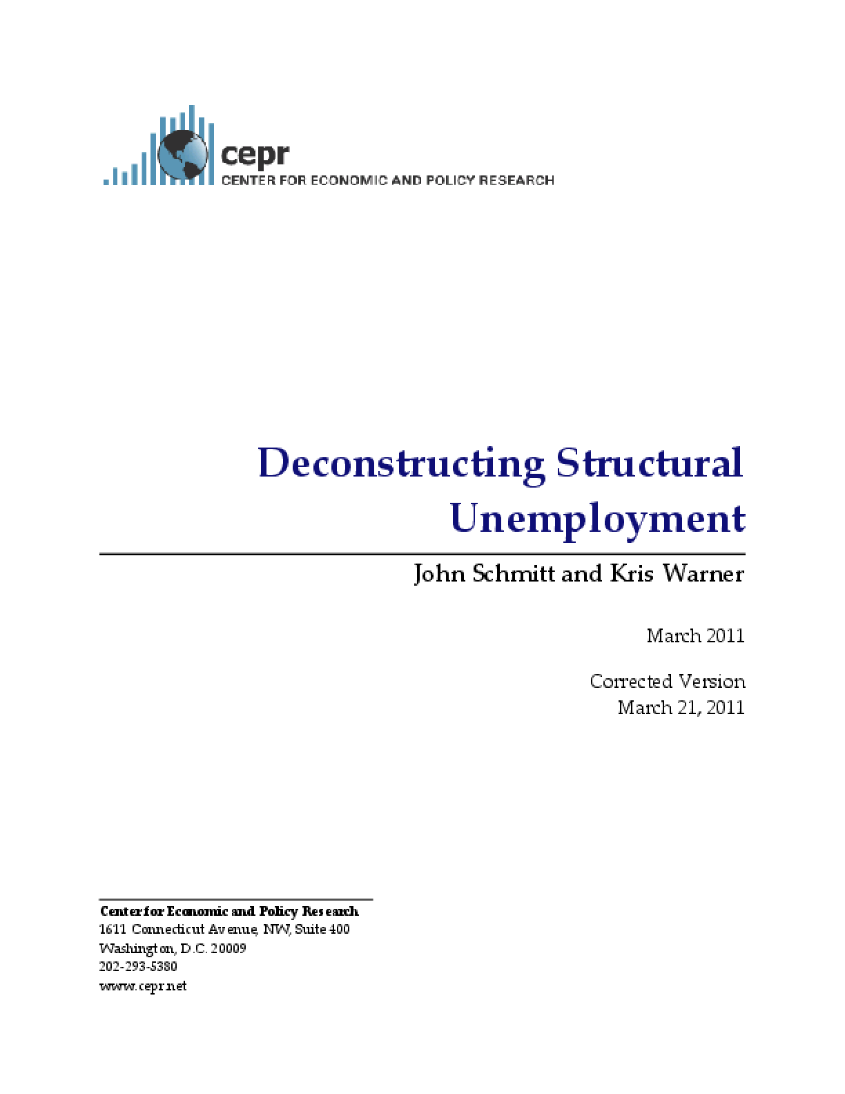 Deconstructing Structural Unemployment