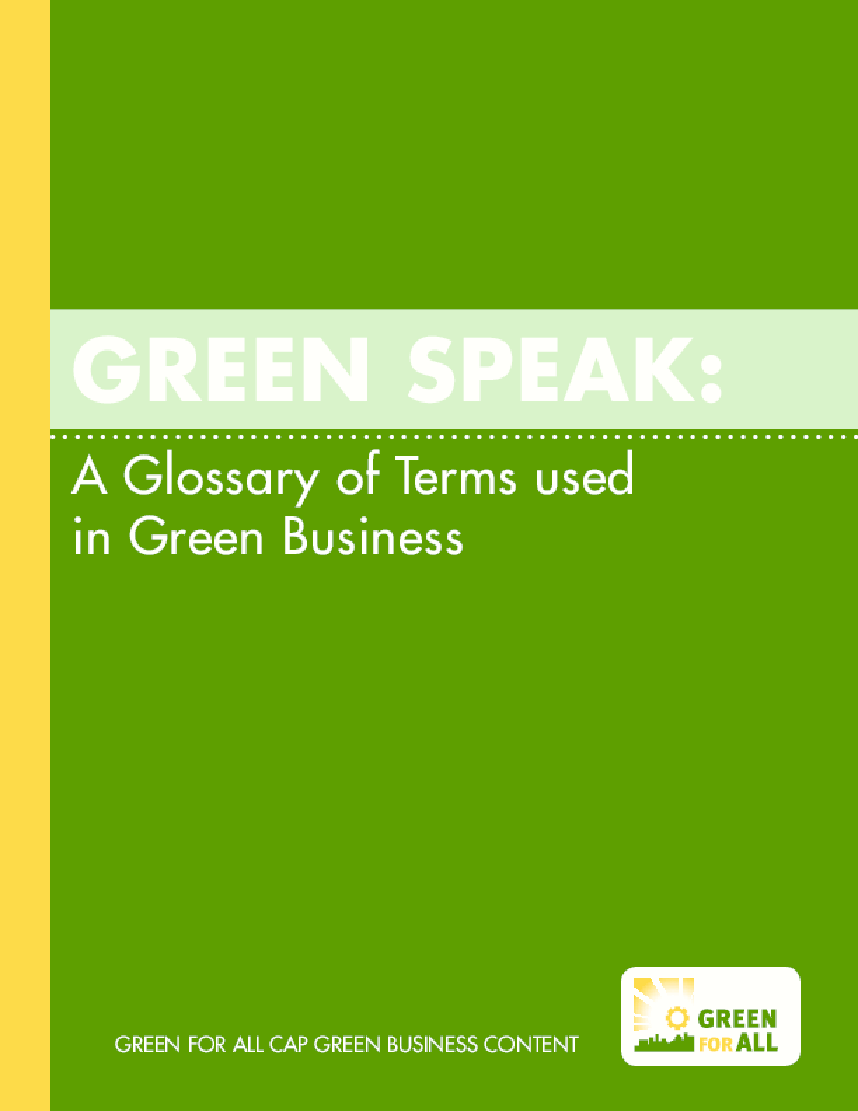Green Speak: A Glossary of Terms used in Green Business