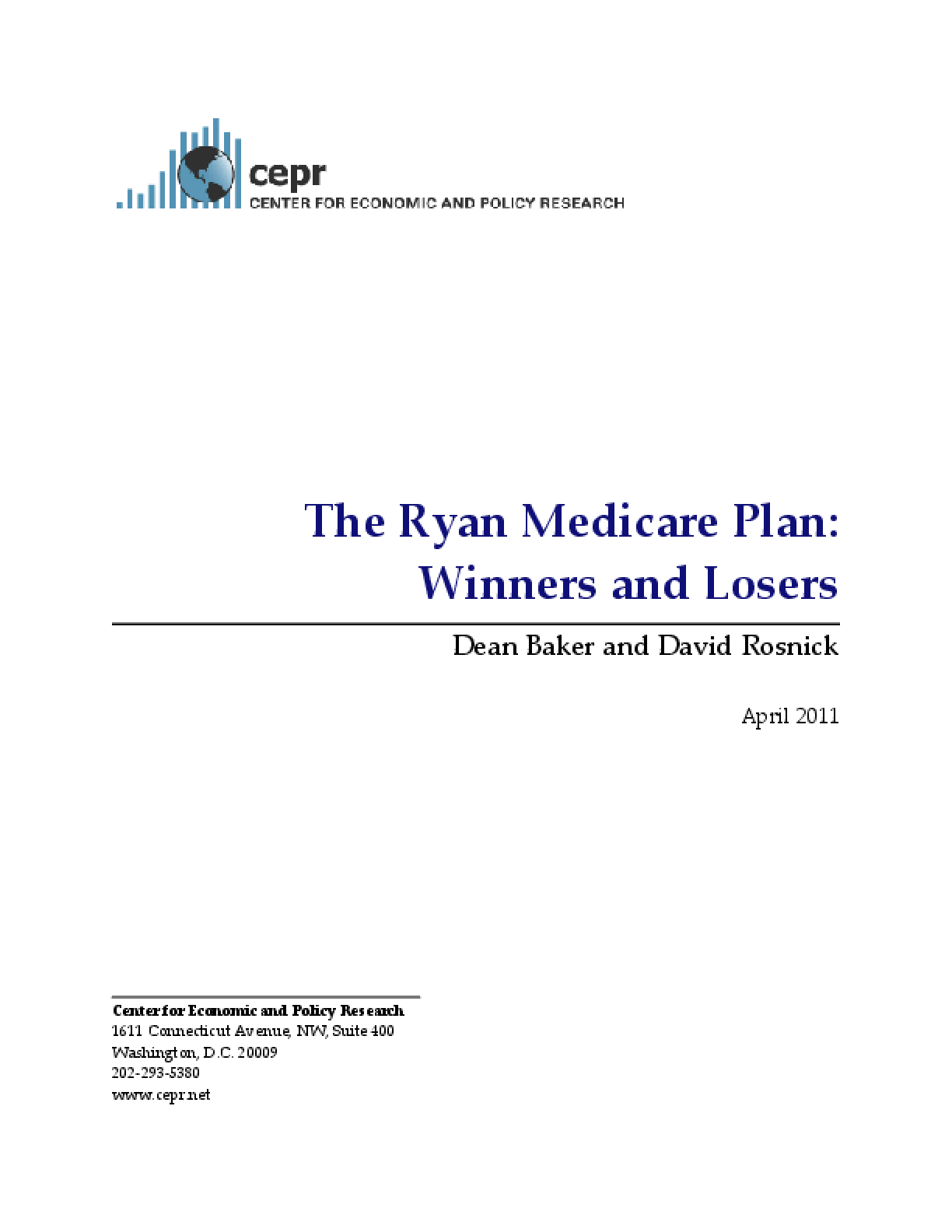 The Ryan Medicare Plan: Winners and Losers