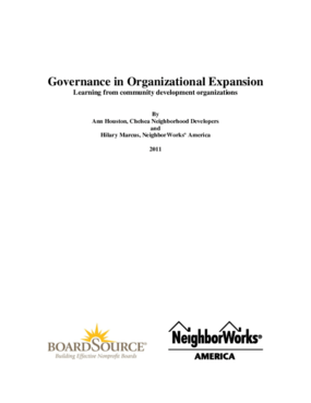 Governance in Organizational Expansion - Learning From Community Development Organizations