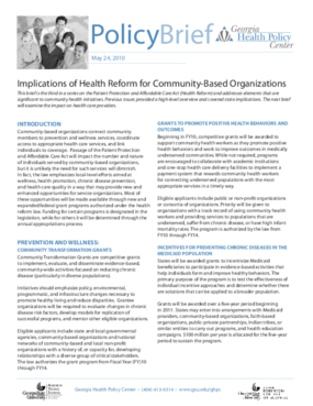 Implications of Health Reform for Community-Based Organizations