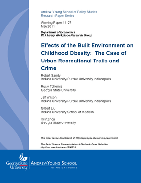 Effects of the Built Environment on Childhood Obesity: The Case of Urban Recreational Trails and Crime