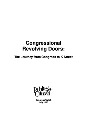 Congressional Revolving Doors: The Journey from Congress to K Street