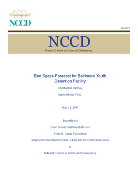 Bed Space Forecast for Baltimore Youth Detention Facility