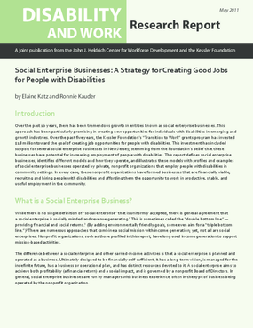 Social Enterprise Businesses: A Strategy for Creating Good Jobs for People with Disabilities