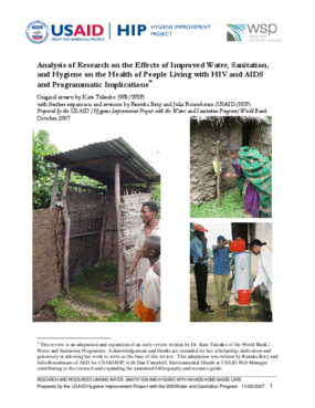 Analysis of Research on the Effects of Improved Water, Sanitation, and Hygiene on the Health of People Living with HIV and AIDS and Programmatic Implications