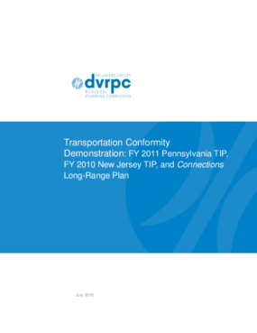 Transportation Conformity Demonstration: FY 2011 Pennsylvania TIP, FY 2012 New Jersey TIP, and Connections Long-Range Plan