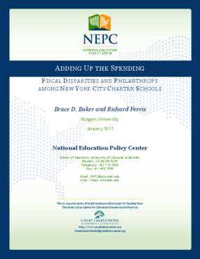 Adding Up the Spending: Fiscal Disparities and Philanthropy among New York City Charter Schools