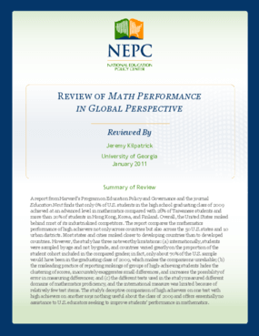Review of U.S. Math Performance in Global Perspective: How Well Does Each State Do at Producing High-Achieving Students