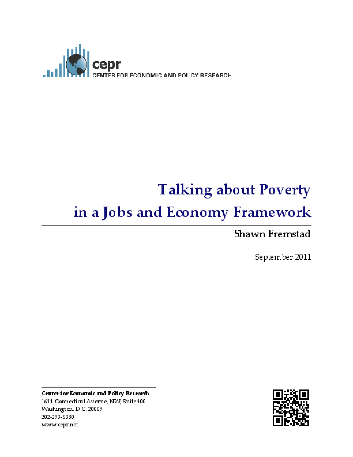 Talking About Poverty in a Jobs and Economy Framework