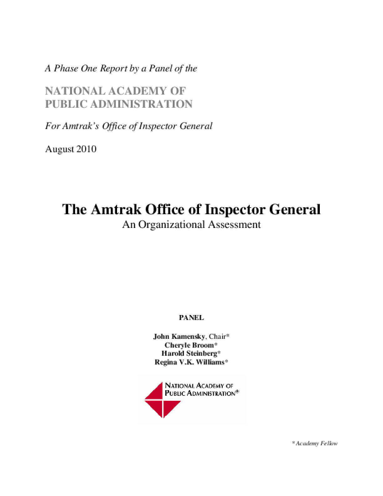 Amtrak Office of Inspector General: Organizational Assessment