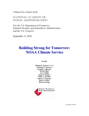 Building Strong for Tomorrow: Recommendations for the Organizational Design of the NOAA Climate Service