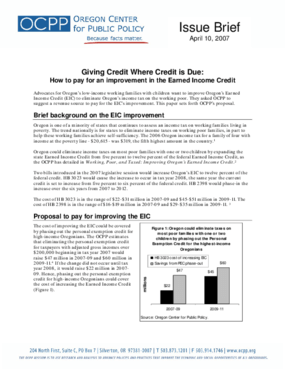 Giving Credit Where Credit is Due: How to pay for an improvement in the Earned Income Credit