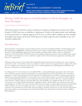 Moving TANF Recipients with Disabilities to Work: Examples of State Strategies
