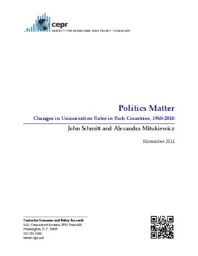 Politics Matter: Changes in Unionization Rates in Rich Countries, 1960-2010