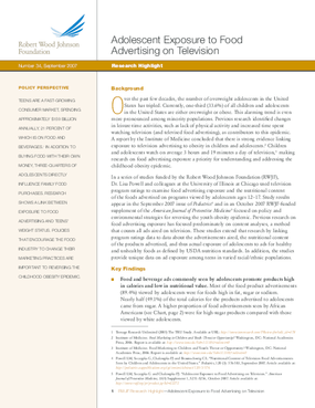 Adolescent Exposure to Food Advertising on Television