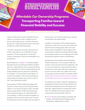 Affordable Car Ownership Programs: Transporting Families Toward Financial Stability and Success