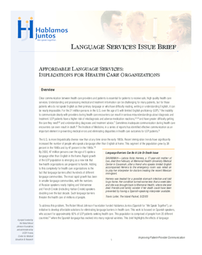 Affordable Language Services: Implications for Health Care Organizations