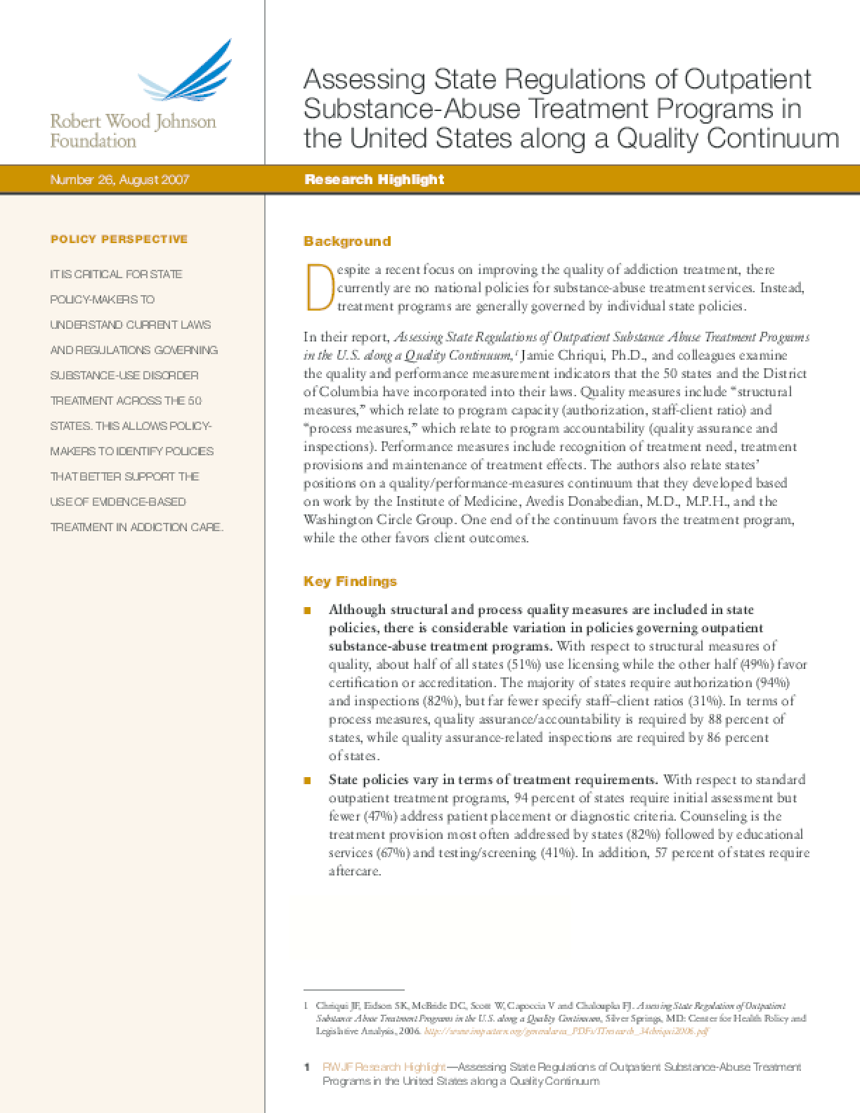Assessing State Regulations of Outpatient Substance-Abuse Treatment Programs in the United States Along a Quality Continuum