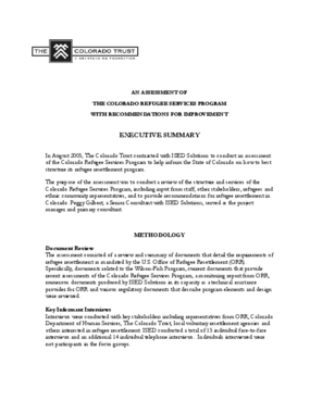 An Assessment of the Colorado Refugee Services Program With Recommendations for Improvement