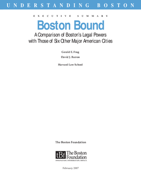 Boston Bound: A Comparison of Boston's Legal Powers with Those of Six Other Major American Cities