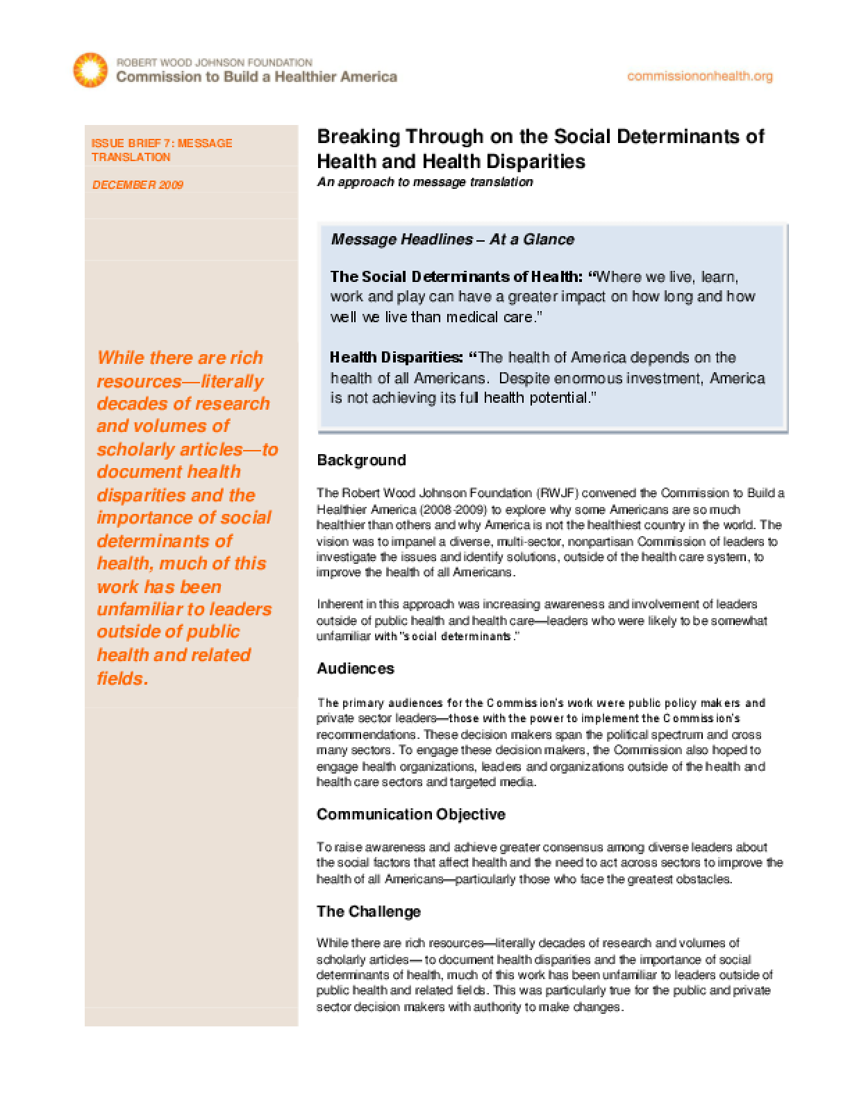 Breaking Through on the Social Determinants of Health and Health Disparities: An Approach to Message Translation