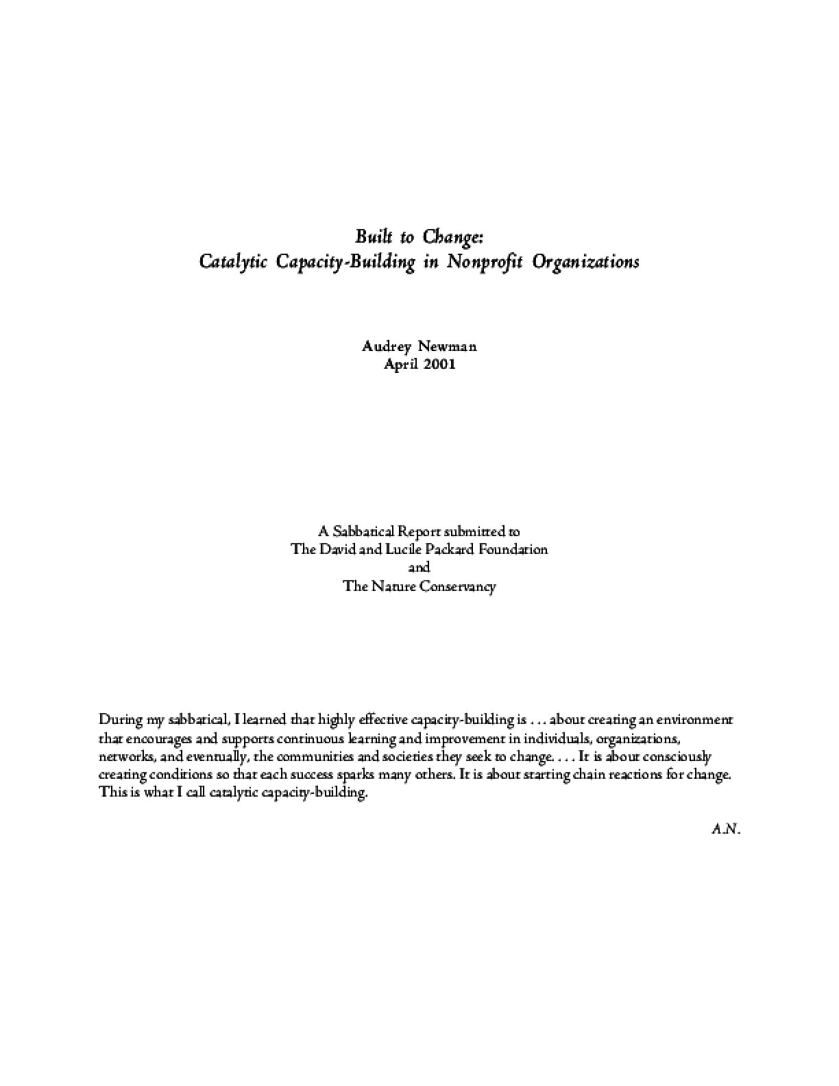 Built to Change: Catalytic Capacity-Building in Nonprofit Organizations