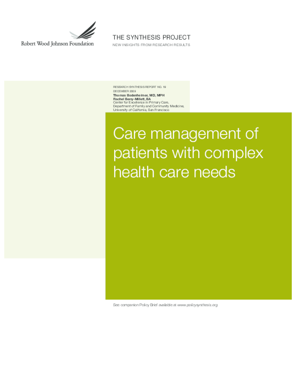 Care Management of Patients With Complex Health Care Needs