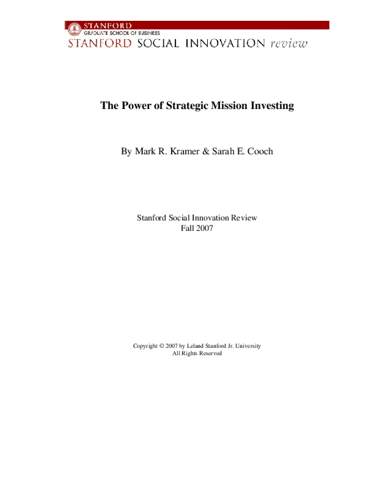 The Power of Strategic Mission Investing