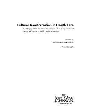 Cultural Transformation in Health Care