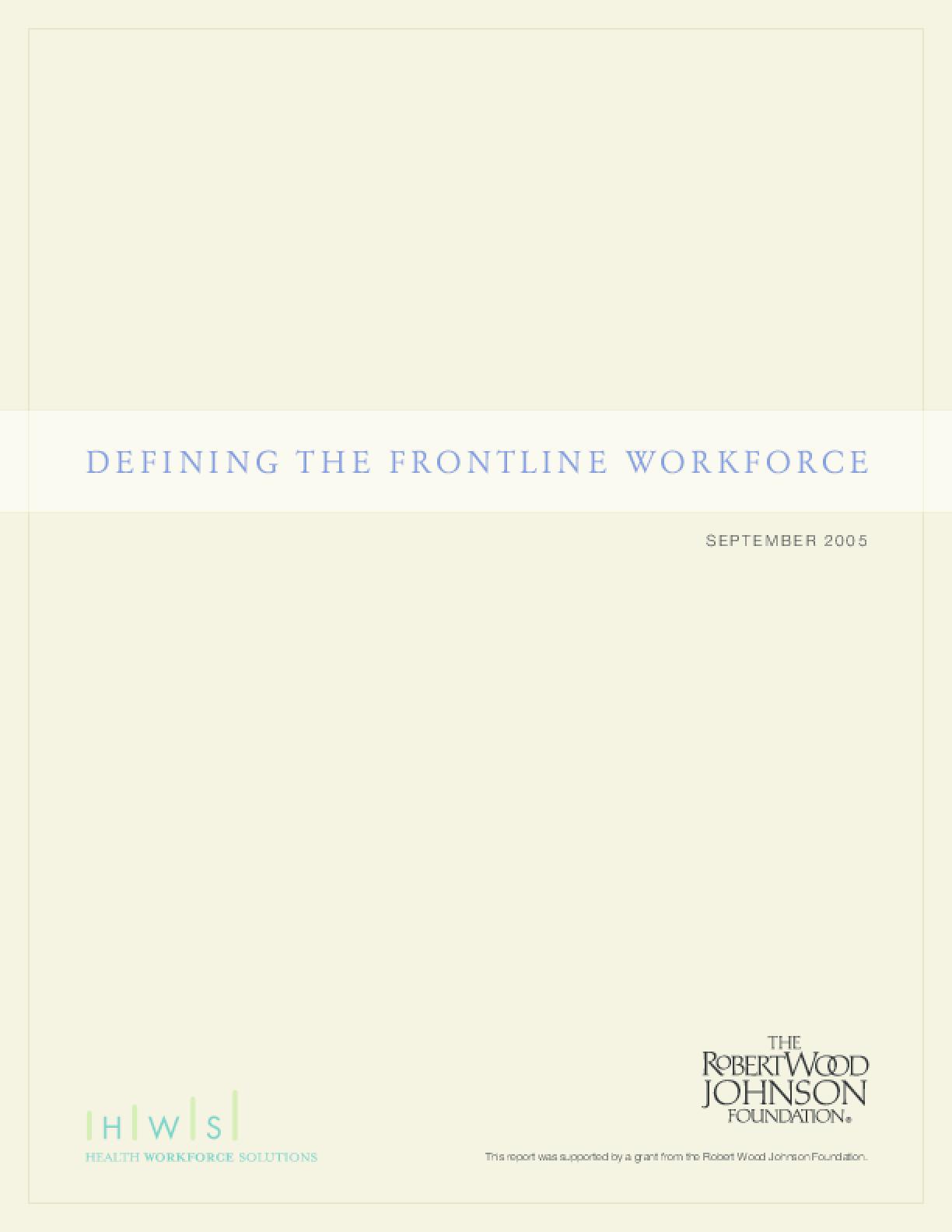 Defining the Frontline Workforce