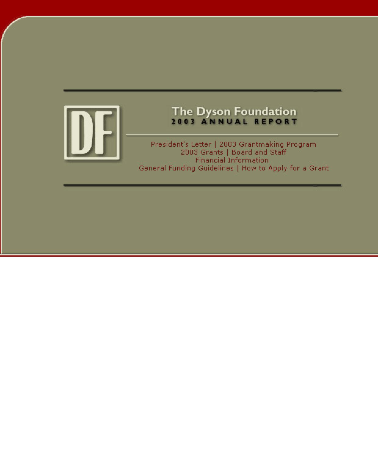 Dyson Foundation - 2003 Annual Report