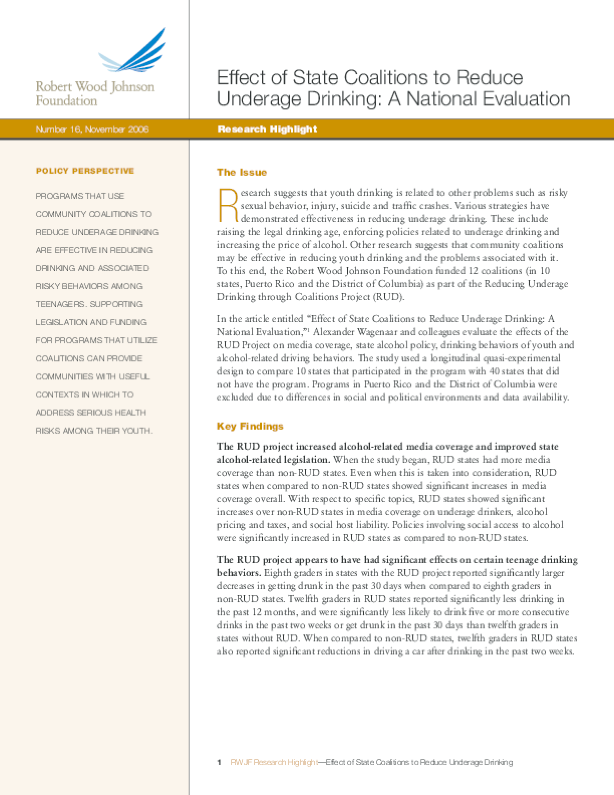 Effect of State Coalitions to Reduce Underage Drinking: A National Evaluation