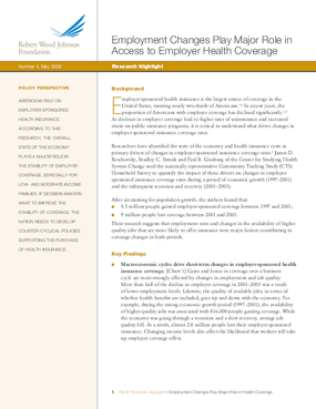 Employment Changes Play Major Role in Access to Employer Health Coverage