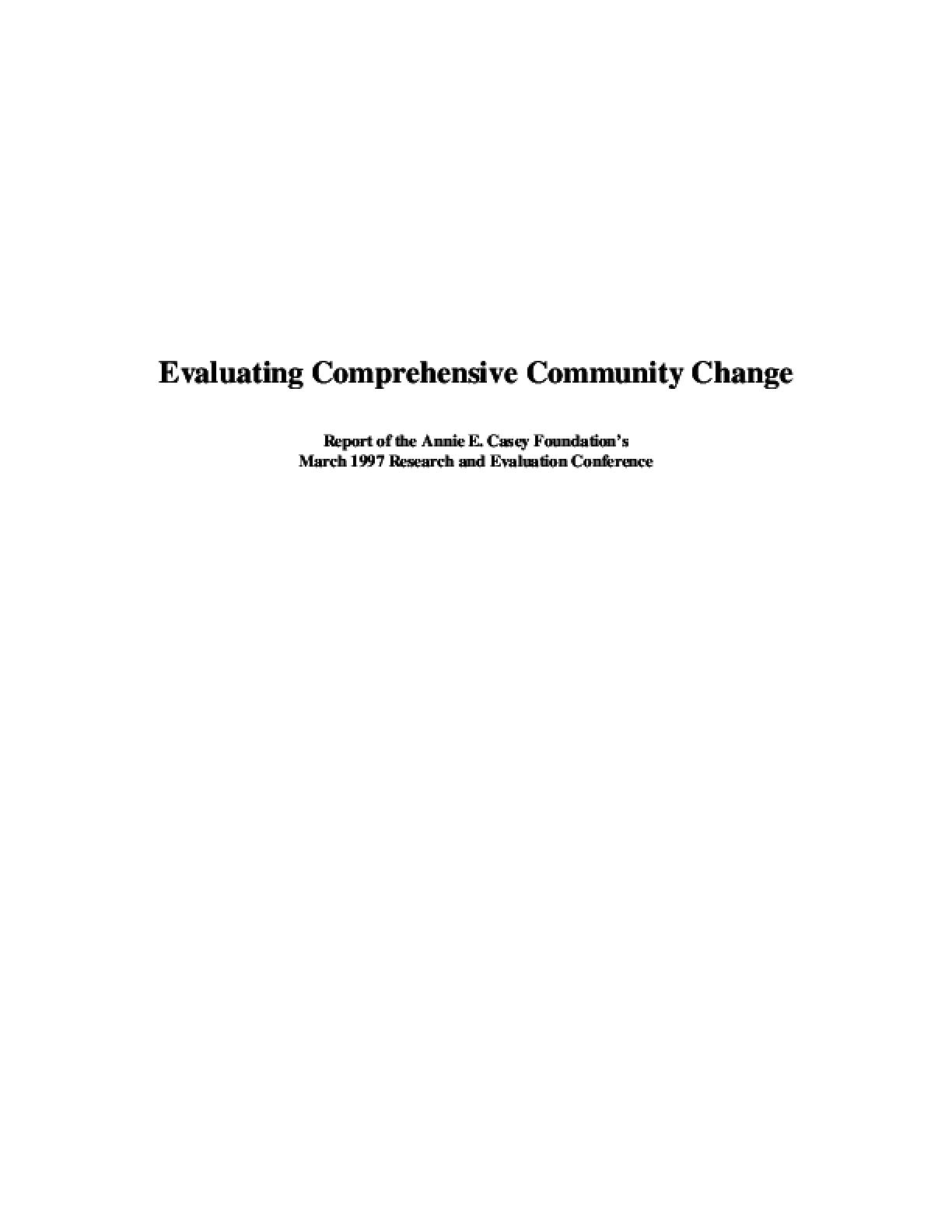Evaluating Comprehensive Community Change