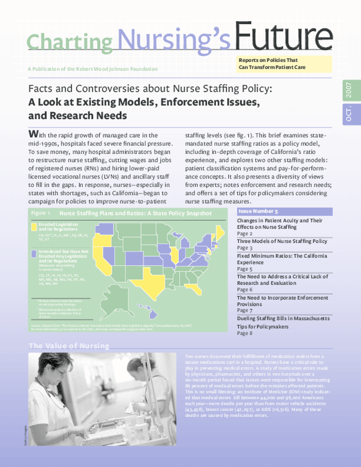 Facts and Controversies About Nurse Staffing Policy: A Look at Existing Models, Enforcement Issues, and Research Needs